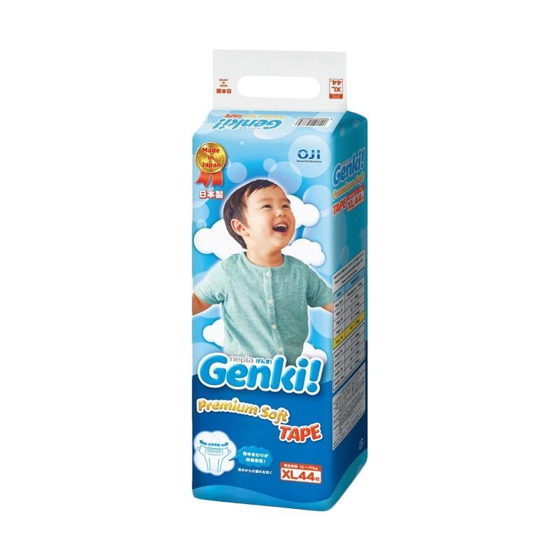 Nepia Genki Premium Baby Diapers Tape Popok Bayi [Size XL/44 pcs]