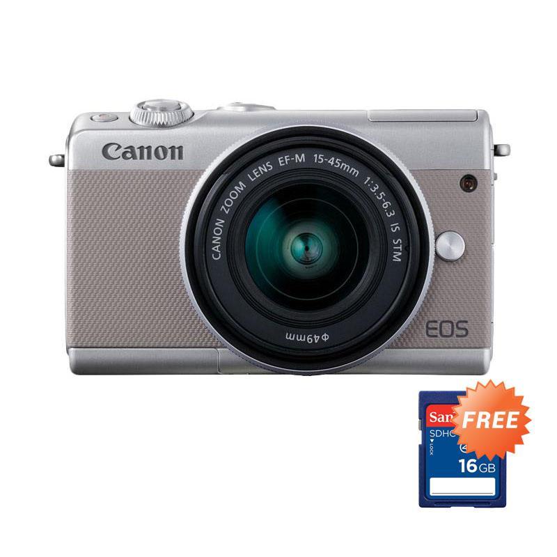 harga Canon EOS M100 kit 15-45mm Mirrorless - Grey - RESMI + FREE Sandisk SDHC 16GB Blibli.com