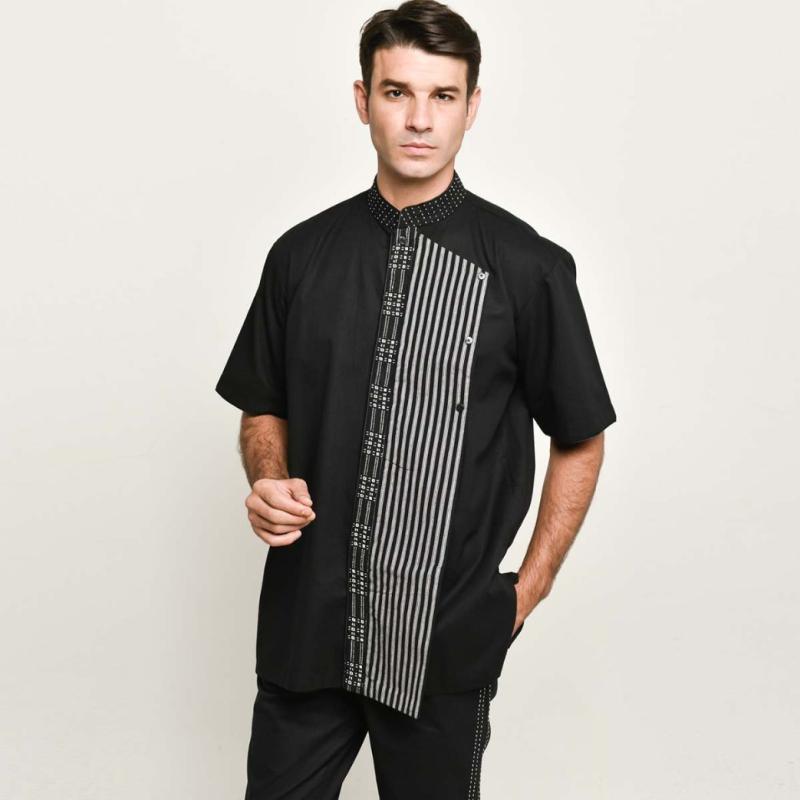 Adrie Basuki Tenun Baduy Ashura Short Sleeve Shirt Black
