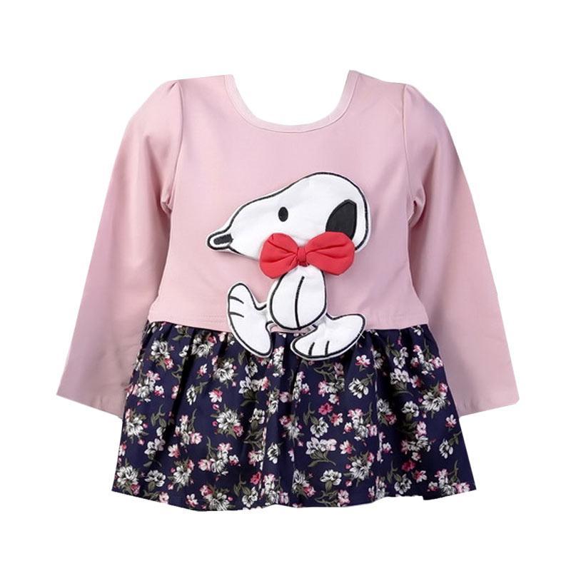 Chloebaby Shop F990 Snoopy Dress Anak - Pink