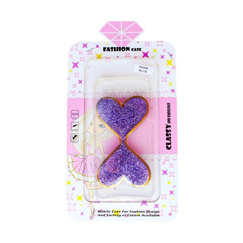 Fashion Case Gliter Love Casing for iPhone 5/iPhone 5S/iPhone SE - Purple