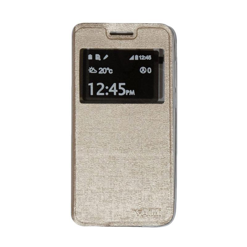 Aimi Flip Cover Casing for Smartfren Andromax L - Gold