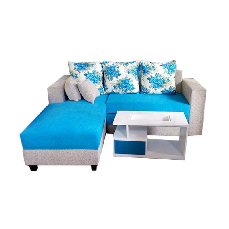 Aldi Furniture Minimalis Sofa L Bed - Biru [Jabodetabek]