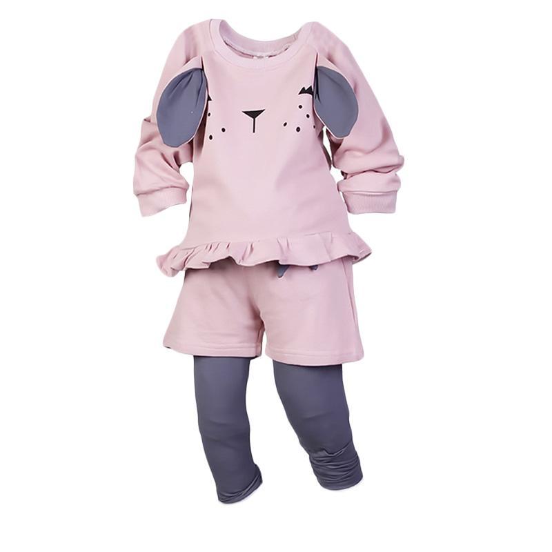 Chloebaby Shop Rabbit F947 Setelan Baju Anak - Pink
