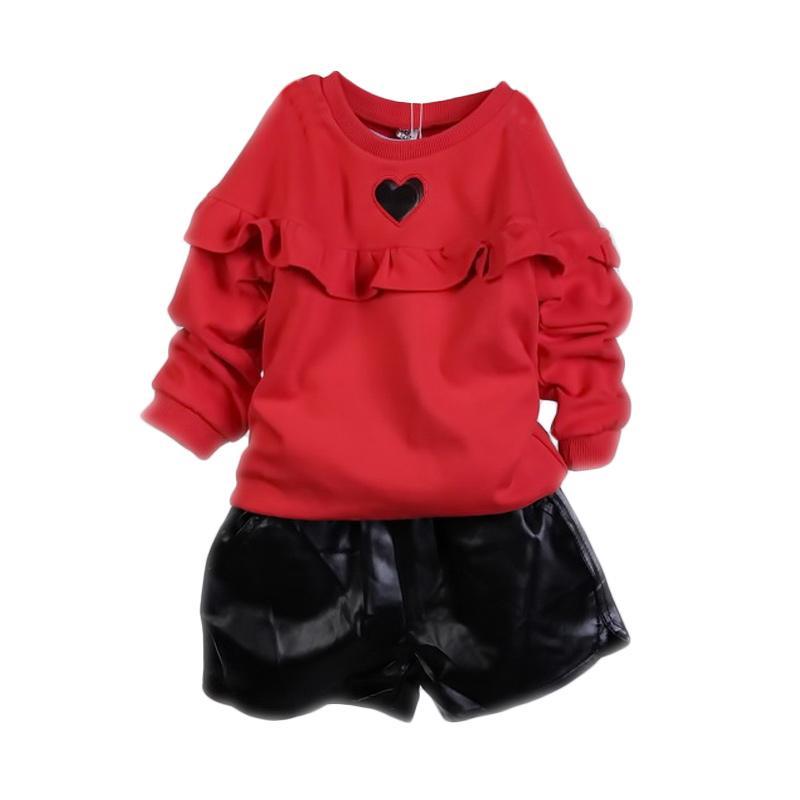 Chloebaby Shop F943 Love Pant Setelan Baju Anak - Red