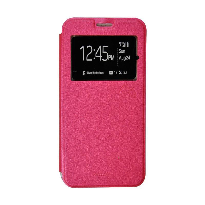 Smile Flip Cover Casing for Asus Zenfone 2 ZE500CL - Hot Pink