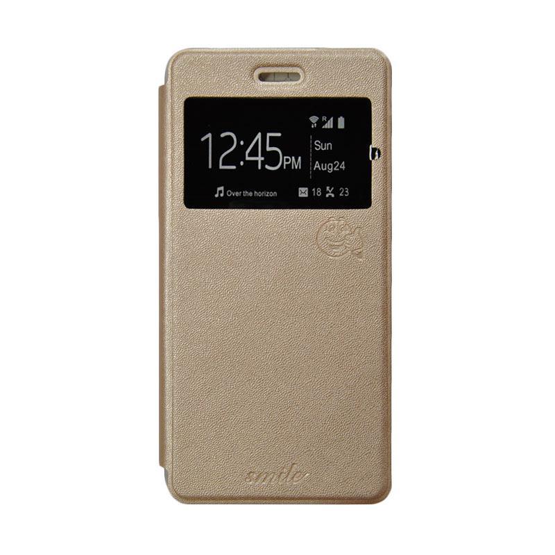 Smile Flip Cover Casing for Xiaomi Redmi Note - Gold
