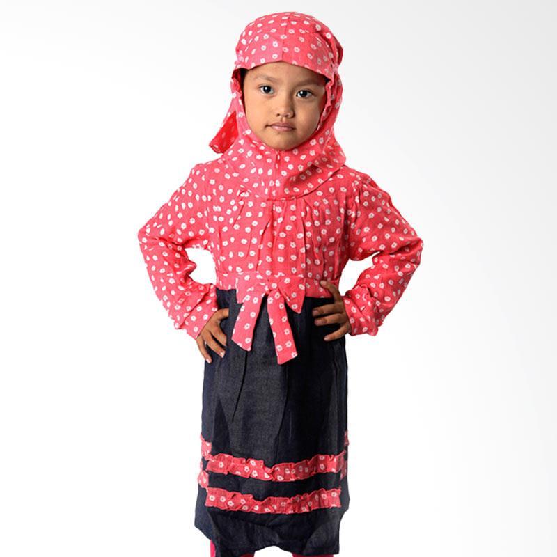4 You Moslem Floral Dress Baju Muslim Anak - Fuschia