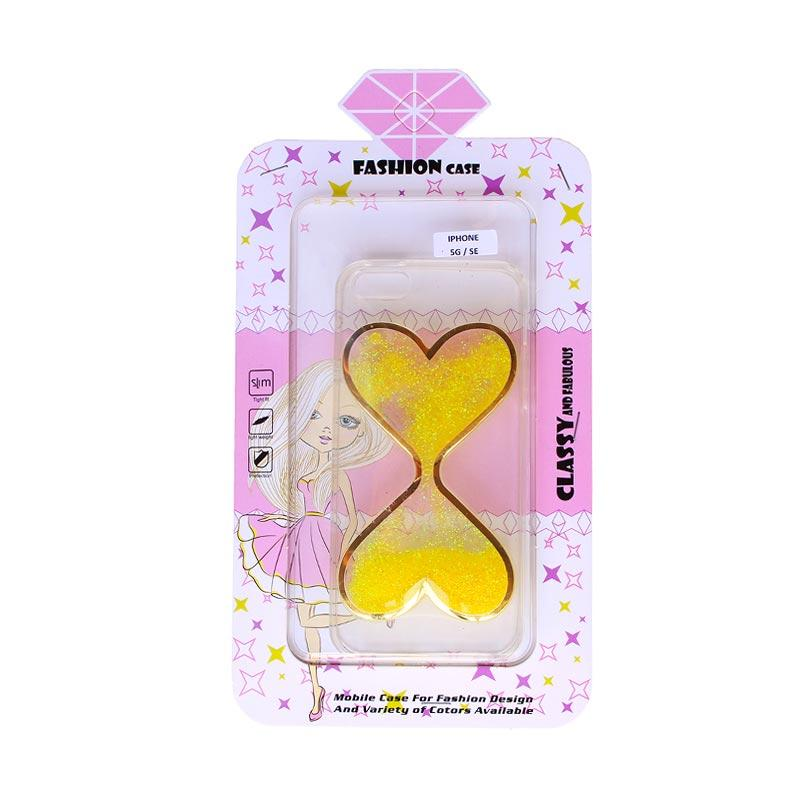 Fashion Case Gliter Love Casing for iPhone 5/iPhone 5S/iPhone SE - Yellow