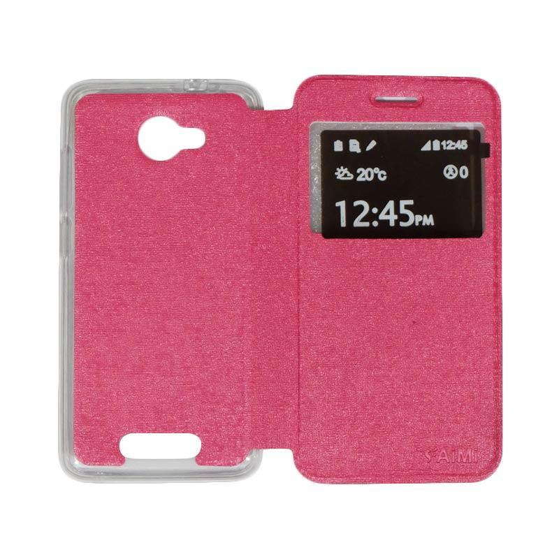 Aimi Flip Cover Casing for Smartfren Andromax B - Pink