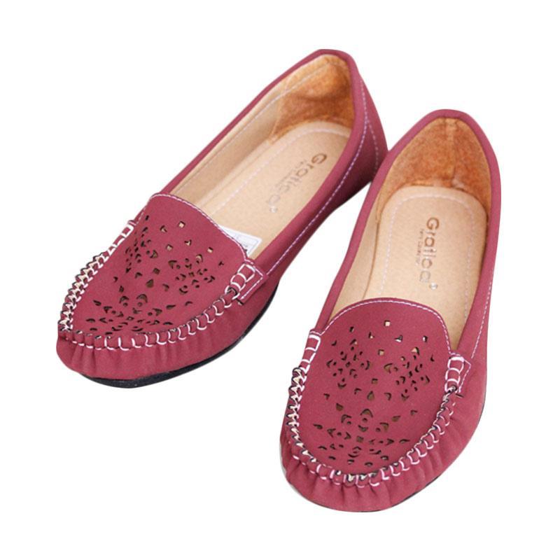 harga Gratica NFZ-55 Laser Flat Shoes - Maroon Blibli.com