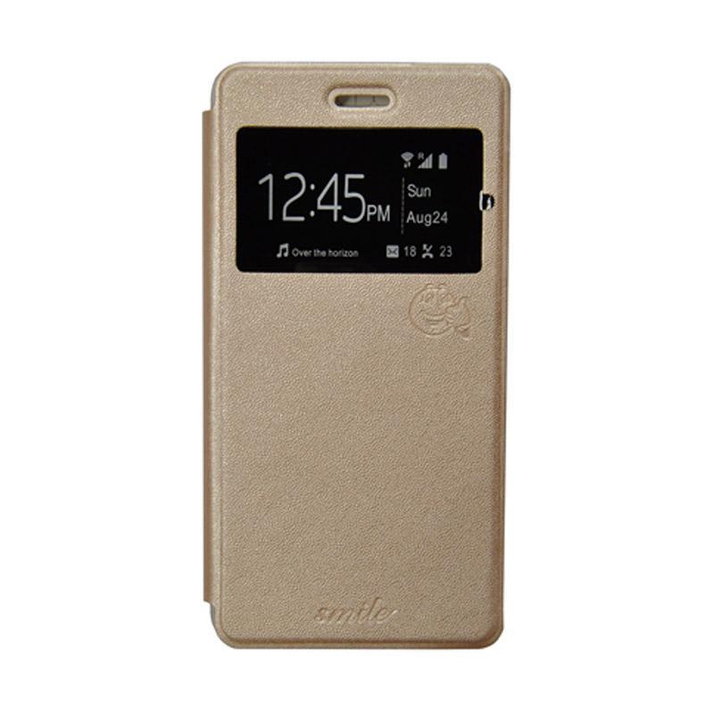 Smile Flip Cover Casing for Xiaomi Redmi Note 2 - Gold