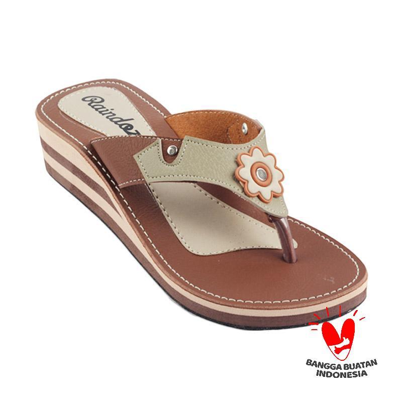 Raindoz Women RUJ 106 Sandals Wedges - Combi Brown