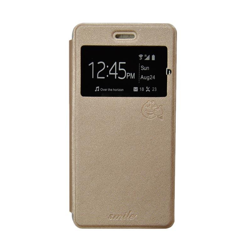 Smile Flip Cover Casing for Xiaomi Redmi Note 3 - Gold