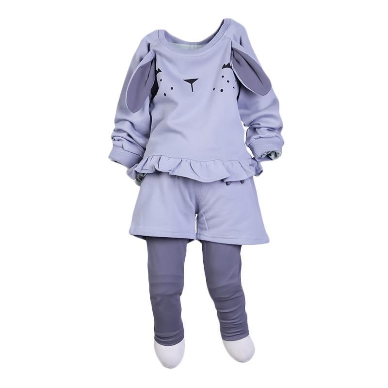 Chloebaby Shop Rabbit F947 Setelan Baju Anak - Grey