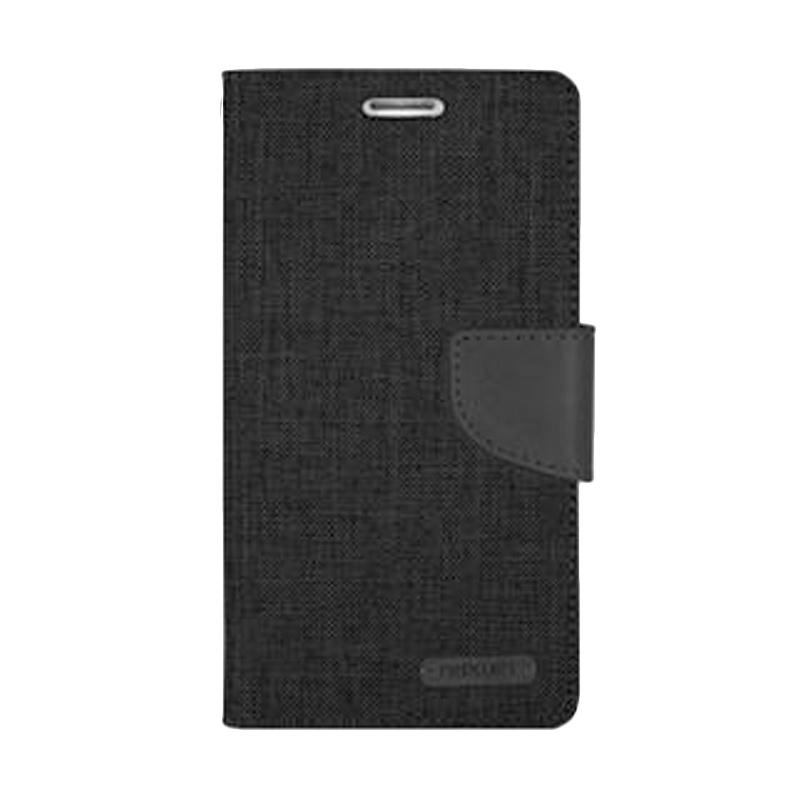 Mercury Canvas Diary Flip Cover Casing for LG K10 - Hitam