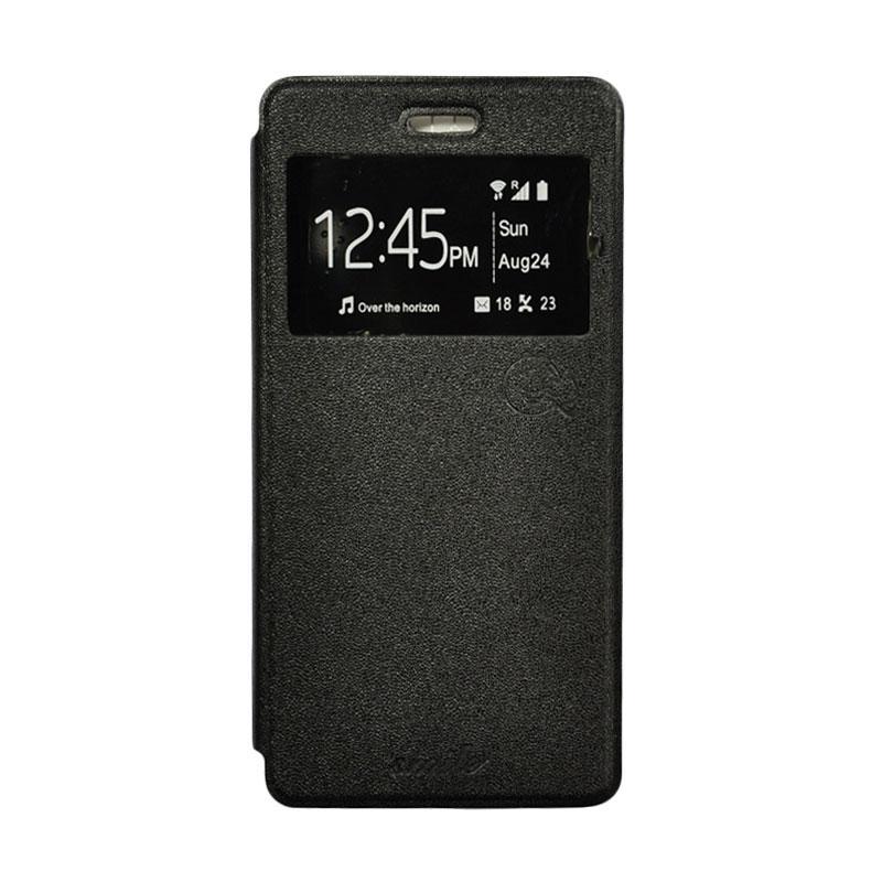 SMILE Standing Flip Cover Casing for Lenovo A5000 - Black