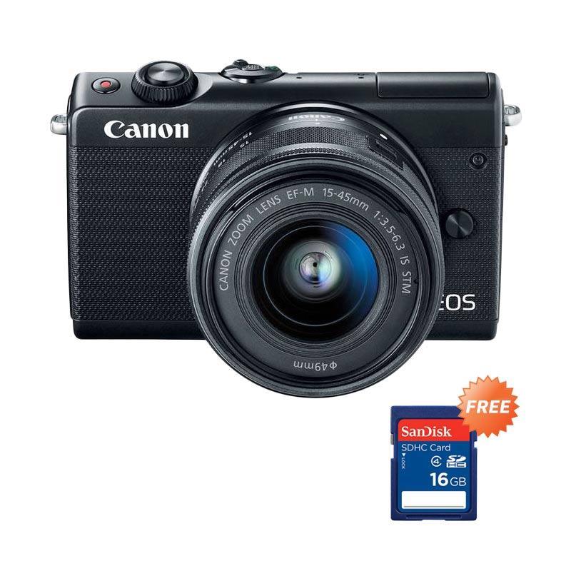 harga Canon EOS m100 kit 15-45mm Mirrorless - Hitam + Free Sandisk SDHC 16GB Blibli.com