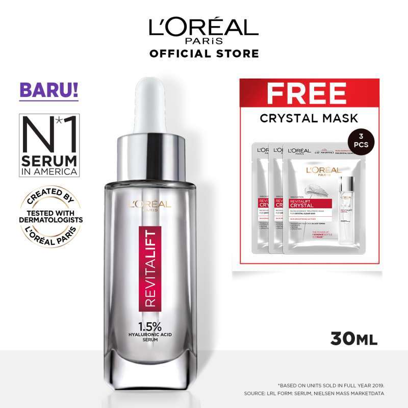 L Oreal Paris Revitalift Hyaluronic Acid Serum 30 mL FREE Crystal Essence Mask 3 pcs