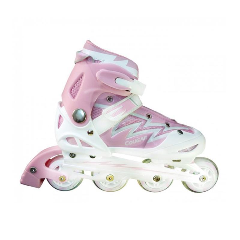 Cougar ADJ.W/ABEC7 MS835L Junior Inline Skate - Pink White [Size 38-41]