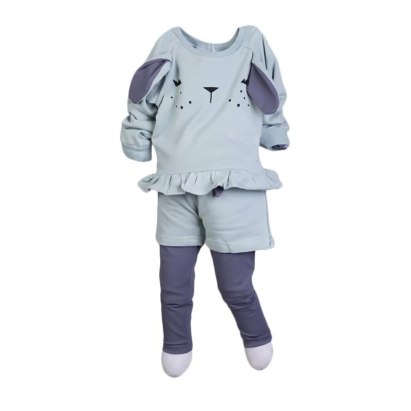 Chloebaby Shop Rabbit F947 Setelan Baju Anak - Green