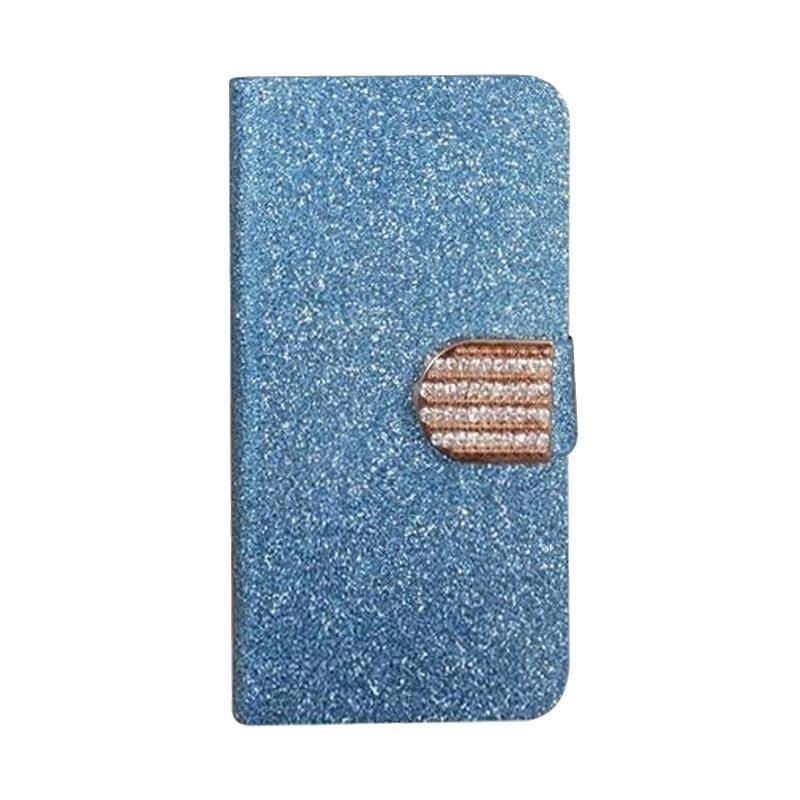OEM Diamond Flip Cover Casing for Huawei Ascend Y360 - Biru