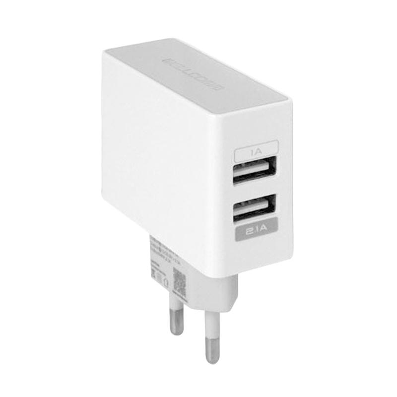 Wellcomm Dual USB Charger - Putih [2.1A]