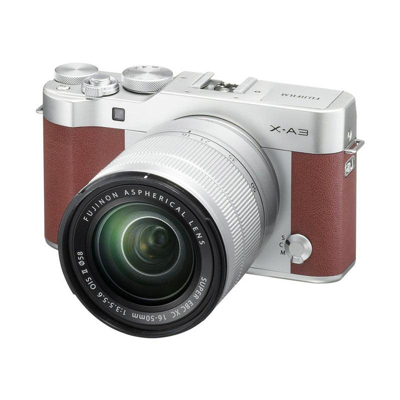 Fujifilm X-A3 Kamera Mirrorless with 16-50mm Lens - Brown + Memory 16GB (Garansi Resmi)