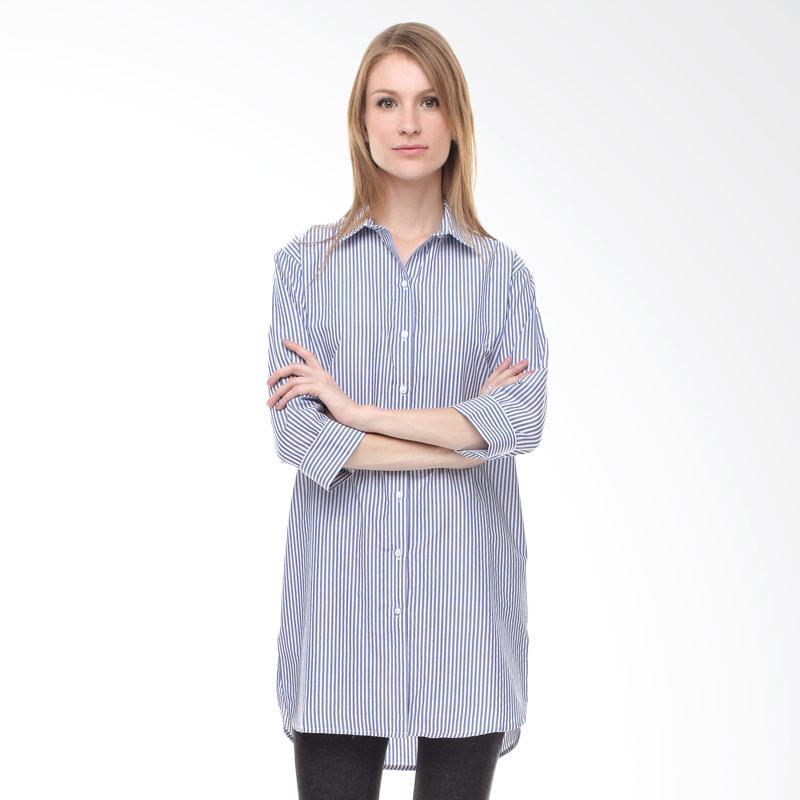 Halcyon Oversized Shirt in Dark Blue Stripes Atasan Wanita