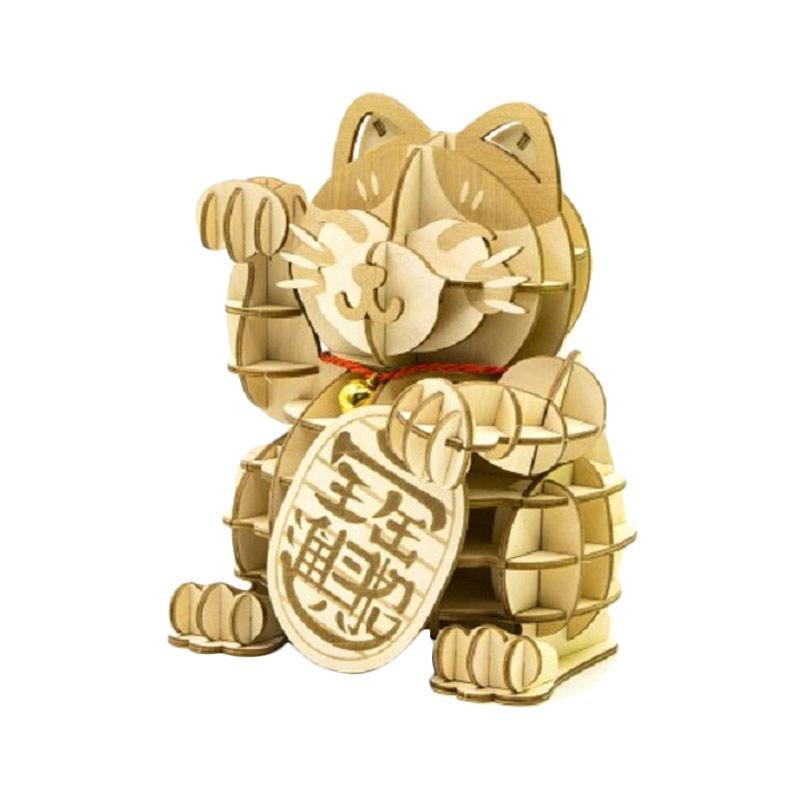 Kigumi Maneki Neko Lucky Cat Large 3D Puzzle Wood