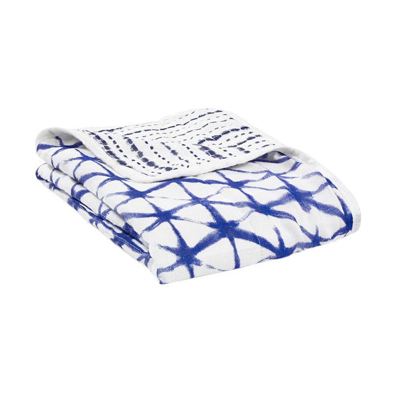Aden+anais - Silky Soft Stroller Blanket - Indigo Shibori - Selmut Stroller Bayi dan Anak