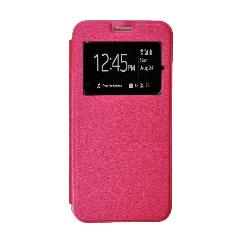 Smile Flip Cover Casing for Lenovo Vibe C A2020 - Hot Pink