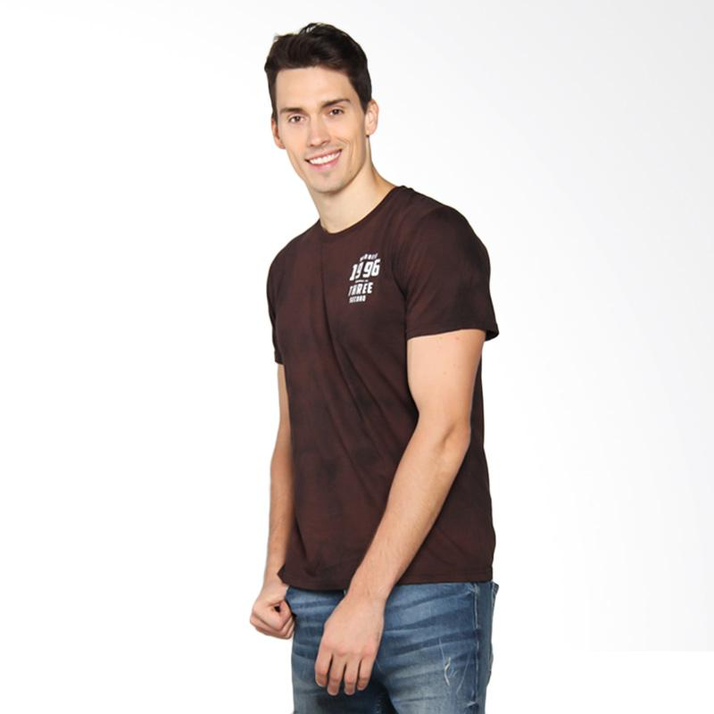 3SECOND Fire Printed Basic Tee T-Shirt Pria - Brown 126041712