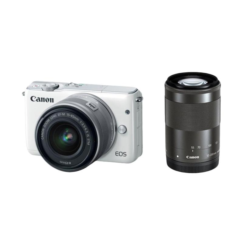 Canon EOS M3 Kit EF-M15-45mm with 55-200mm Kamera Mirrorless - White