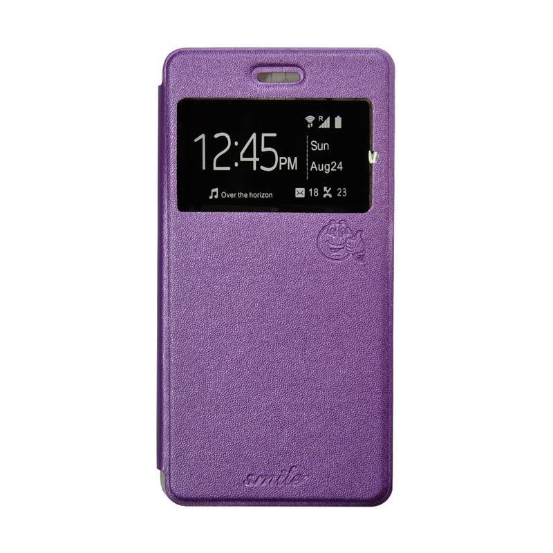 Smile Flip Cover Casing for Samsung Galaxy A8 - Ungu