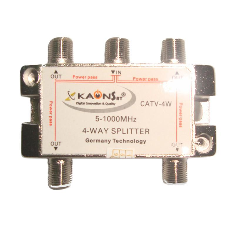 Kaonsat CATV-4W 4 Way Splitter for TV Kabel [5-1000 Mhz]