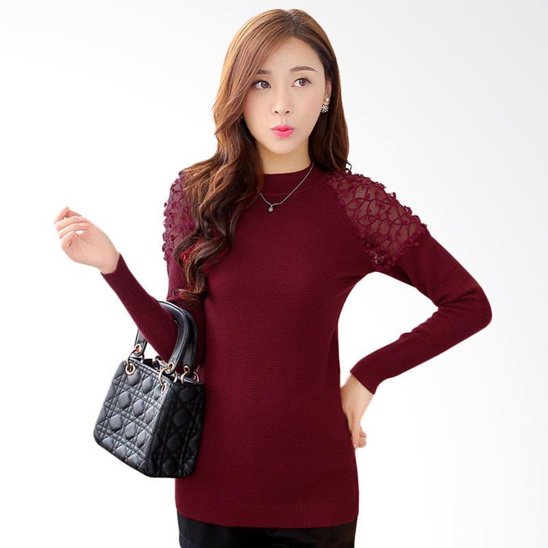 White Lotus Long Sleeve Flowerly Knitted Shirt 218 Atasan Wanita - Red