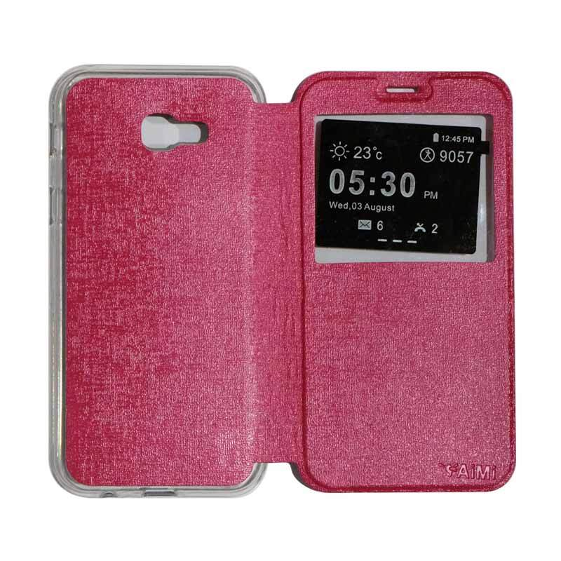 AIMI Flip Cover Casing for Samsung Galaxy A720 or A7 2017 - Pink