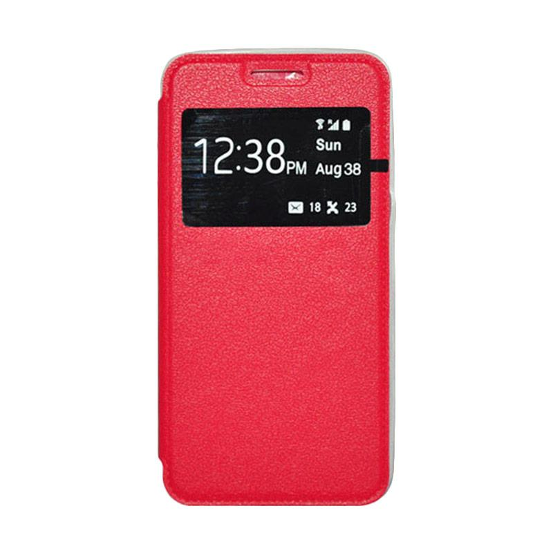 OEM Book Cover Leather Casing for Samsung Galaxy A8 - Red
