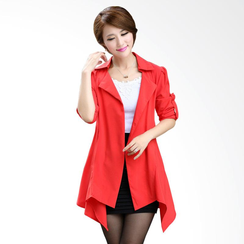 White Lotus 221 Korean Office Lady Cardigan - Red