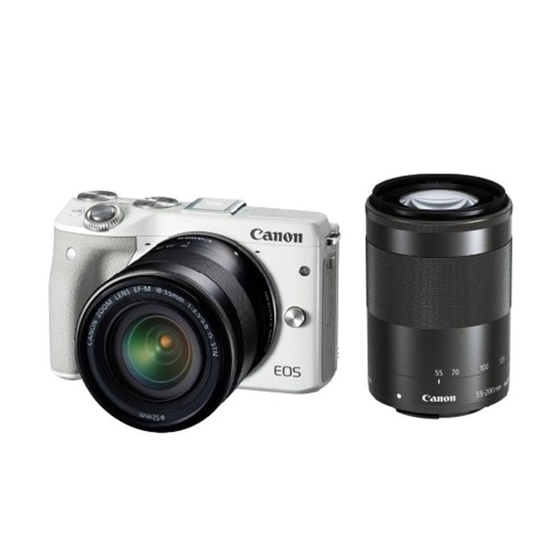 Canon EOS M3 Double Kit EF-M15-45 IS STM - EF-M55-200 IS STM Kamera Mirrorless - Putih RESMI PT DATASCRIP