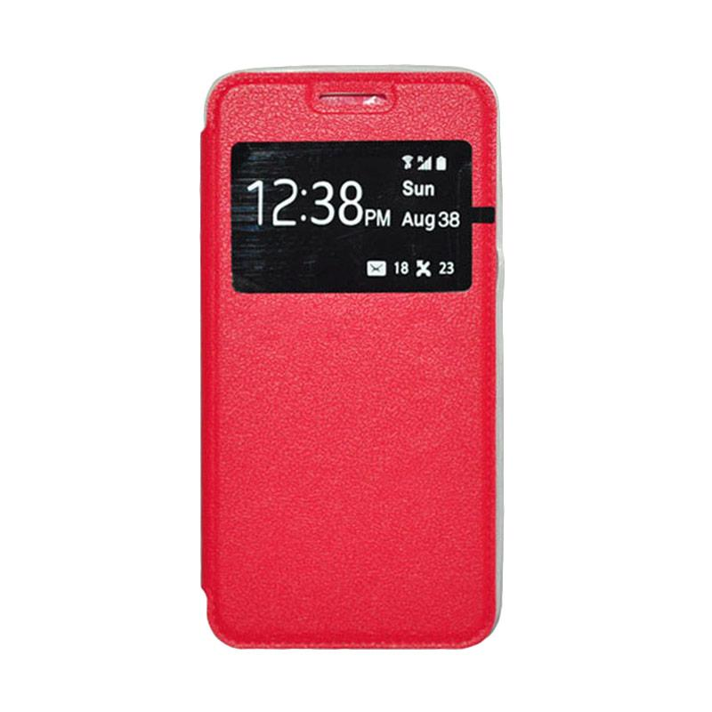 OEM Book Cover Leather Casing for Samsung Galaxy E5 - Red