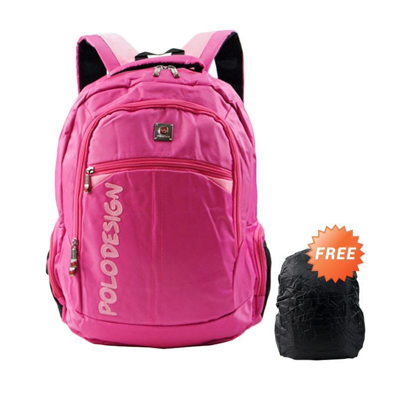 Polo Design PX1-21001L Tas Ransel + Rain Cover - Pink