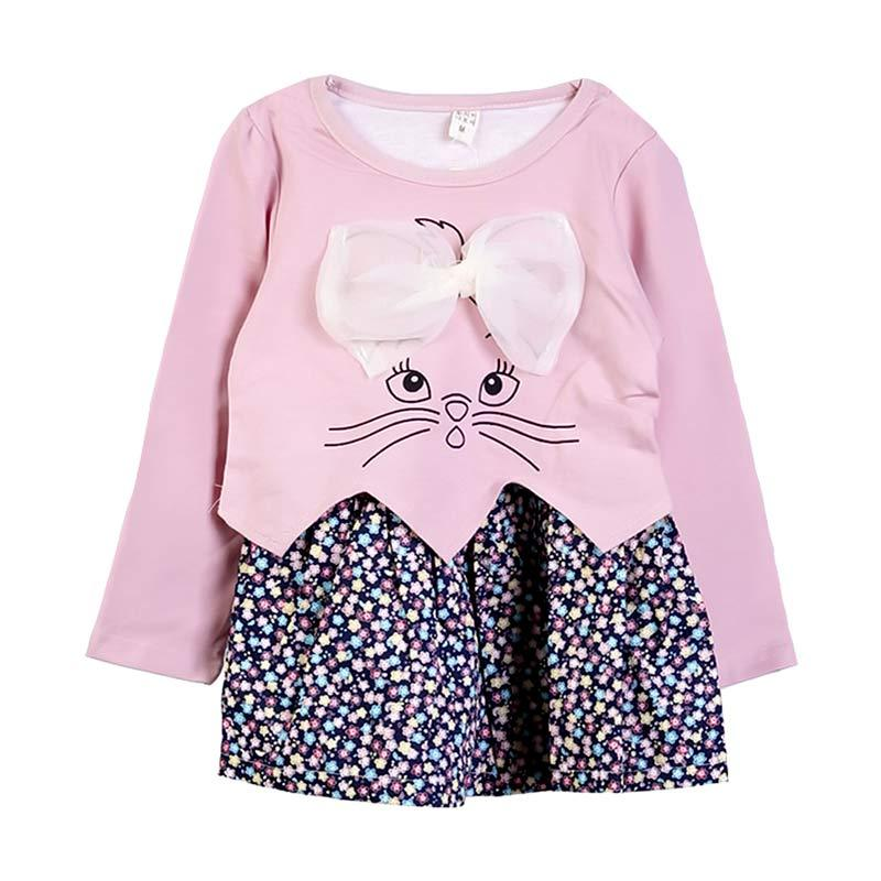Chloebaby Shop F977 Flower Rabbit Dress - Pink