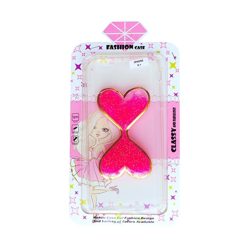 Fashion Gliter Love Casing for iPhone 6 Plus - Pink