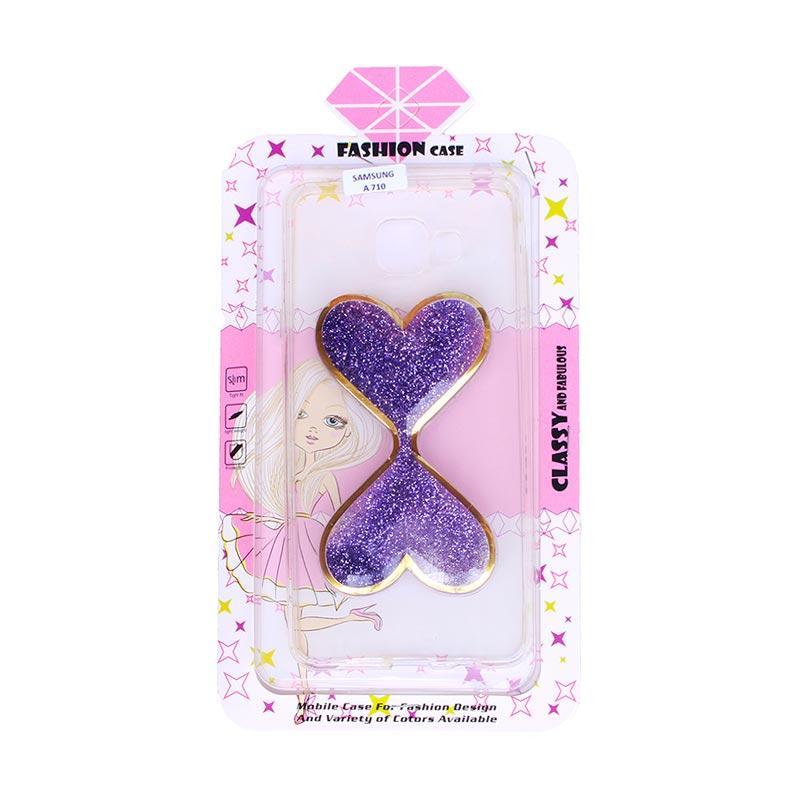 Fashion Case Gliter Love Casing for Samsung A710 - Purple