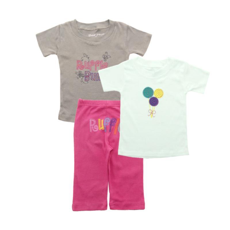 Bearhug Ruffle Set Baju Bayi Perempuan [3 pcs] - Putih