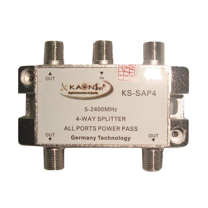 Kaonsat KSAP-4W 4 Way Splitter for TV Kabel [5-2400 Mhz]