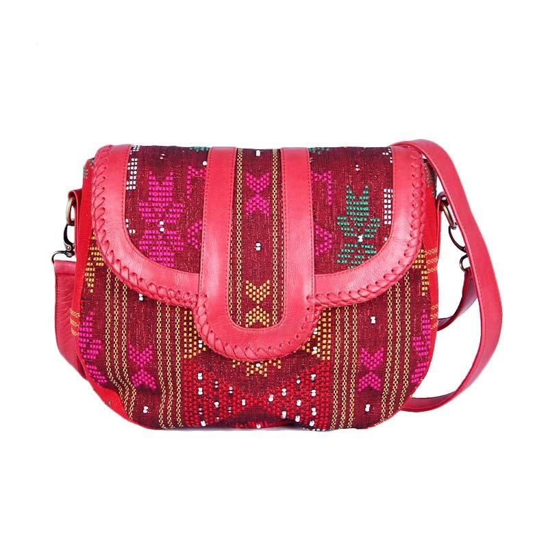 Daisy Amarissa Style Lovina beads Leather Sling Bag - Red