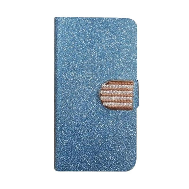 OEM Diamond Flip Cover Casing for ZTE Q7/Q7 C (S6 Lux) - Biru
